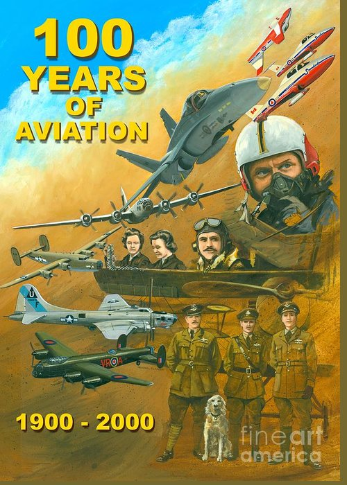 Aviation Poster Greeting Card featuring the painting 100 Years Of Aviation by Michael Swanson