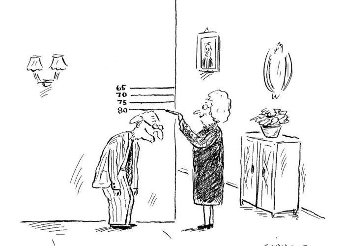 Age Old Medical Fitness  (old Woman Measures Man's Age By His Height.) 121938 Dsi David Sipress Greeting Card featuring the drawing New Yorker February 27th, 2006 by David Sipress