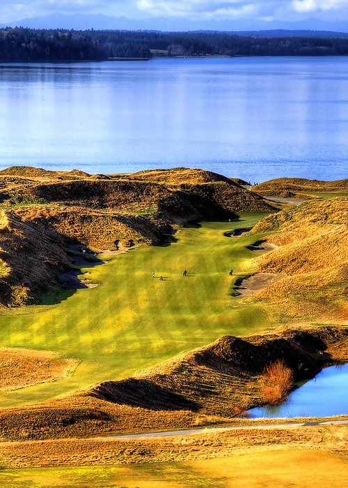 Chambers Bay Golf Course Greeting Card featuring the photograph 10th Hole At Chambers Bay by David Patterson