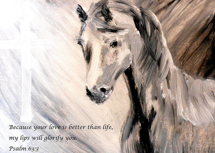 Because Your Love Is Better Than Life My Lips Will Glorify You Greeting Card featuring the painting God Is Love by Amanda Dinan