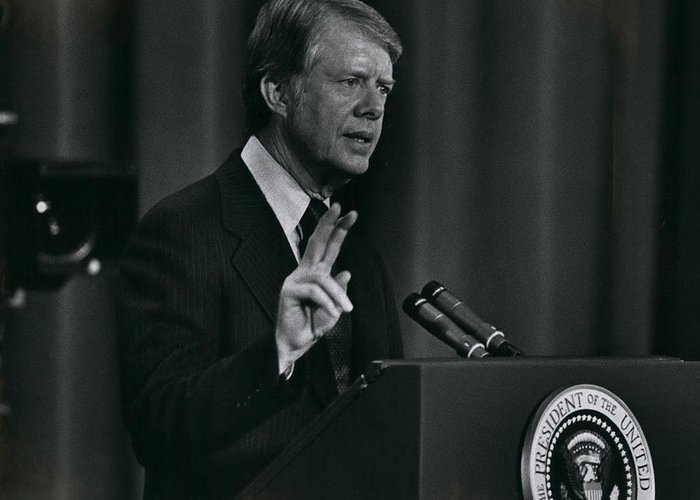 retro Images Archive Greeting Card featuring the photograph President Jimmy Carter by Retro Images Archive