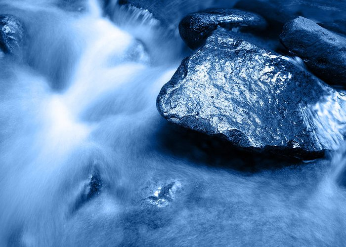 Blue Greeting Card featuring the photograph Stream by Les Cunliffe