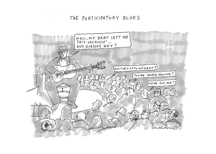 Song Lyrics Music Word Play  (musician Sings Greeting Card featuring the drawing The Participatory Blues by Michael Crawford