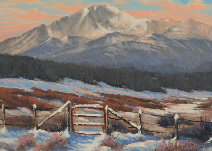 Pikes Peak Greeting Card featuring the painting 110901-810 Red Gate by Kenneth Shanika