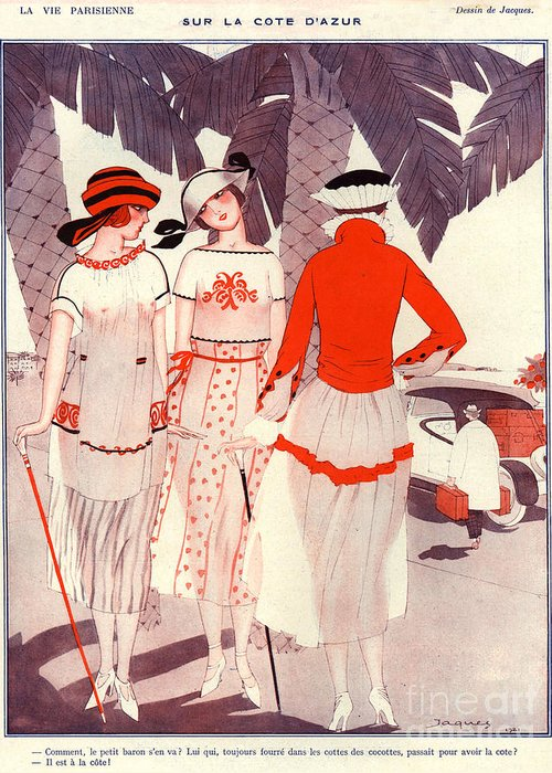 France Greeting Card featuring the drawing 1920s France La Vie Parisienne Magazine by The Advertising Archives