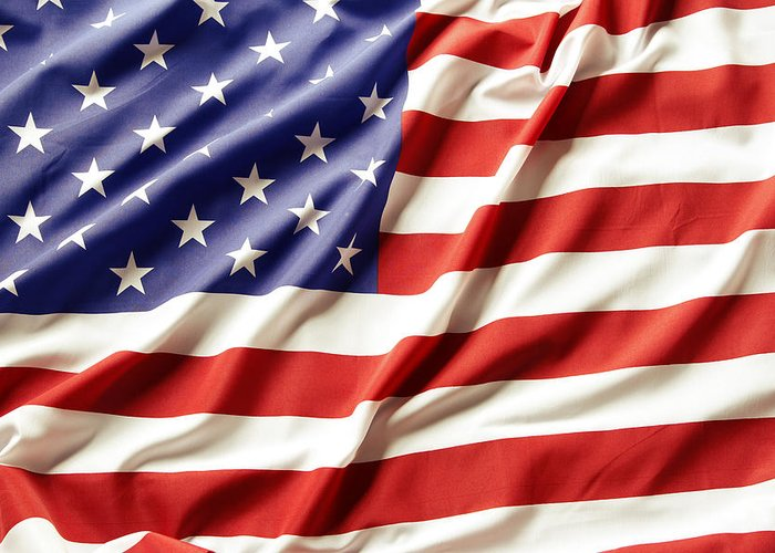 Abstract Greeting Card featuring the photograph American Flag by Les Cunliffe