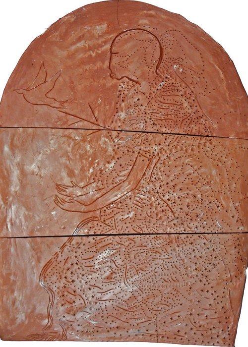 Our Lady Greeting Card featuring the ceramic art Bikira Maria by Gloria Ssali