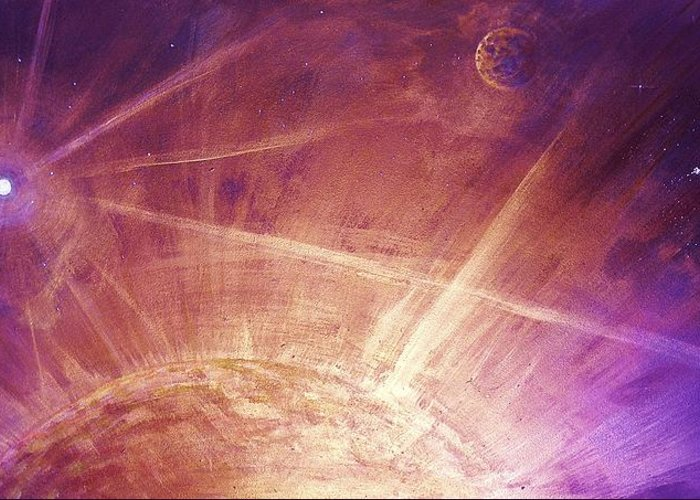 Cosmic Light Series Greeting Card featuring the painting Cosmic Light Series by Len Sodenkamp