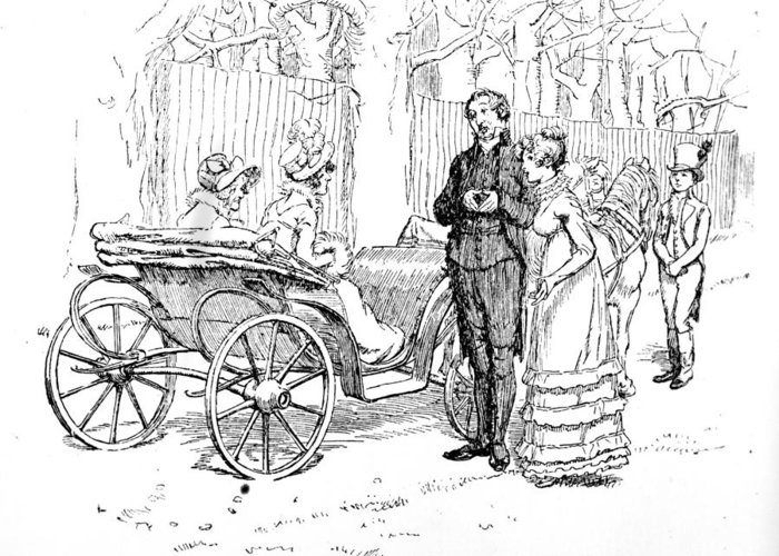 In Conversation With The Ladies; Illustration; Pride And Prejudice; Jane Austen; Edition; Illustrated; Mr;collins; Charlotte Lucas; Husband; Wife; Miss; De Bourgh; Mrs; Jenkinson; Phaeton; Lady Catherine De Bourgh; Elizabeth Bennet; Bennet's; Visit; Hunsford; Parsonage; Rosings; Pompous; Clergyman; Georgian; Regency; Costume; Carriage; Talking; De Bourgh's; Daughter Greeting Card featuring the drawing Scene From Pride And Prejudice By Jane Austen by Hugh Thomson