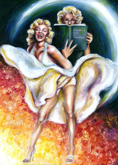 Marilyn Monroe Parody Greeting Card featuring the painting 12 Signs Series Gemini by Hiroko Sakai