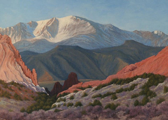 Pikes Peak Greeting Card featuring the painting 120402-1836 Pikes Peak from the Garden of the Gods by Kenneth Shanika