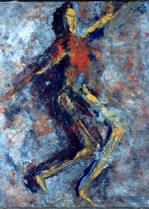 Oil On X-ray Film Greeting Card featuring the painting Dance Dance Dance by Anand Swaroop Manchiraju