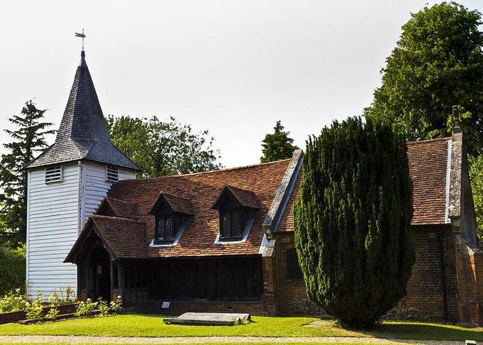 Church Greeting Card featuring the photograph Greensted Church by David Pyatt