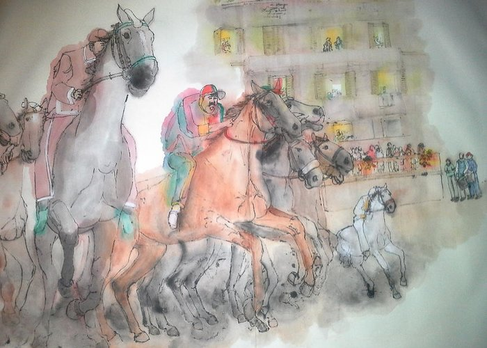 Il Palio. Horse Race. Famous. Siena. Italy. Medieval Greeting Card featuring the painting Italian Il Palio Horse Race Album by Debbi Saccomanno Chan