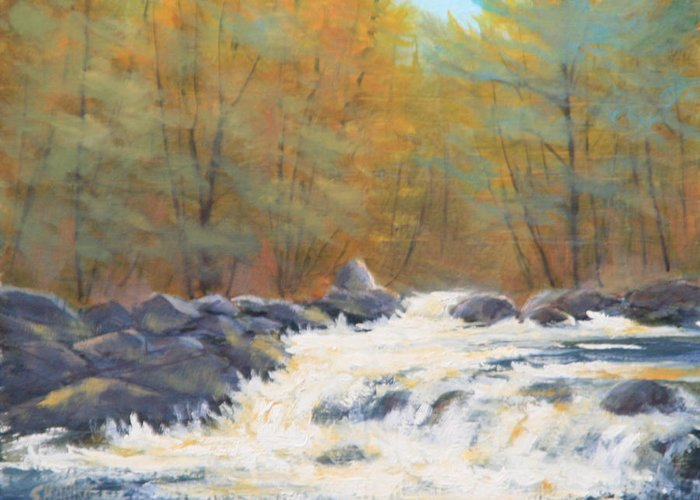 Rocky Mountains Greeting Card featuring the painting 130119-68 Rushing Water On Fall River by Kenneth Shanika
