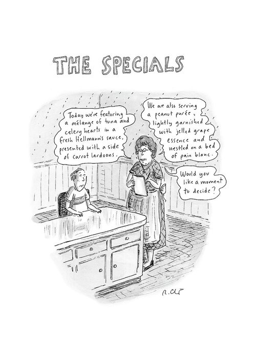 Food Dining Low Cuisine Service Restaurants Word Play  (waitress Reads Greeting Card featuring the drawing The Specials by Roz Chast