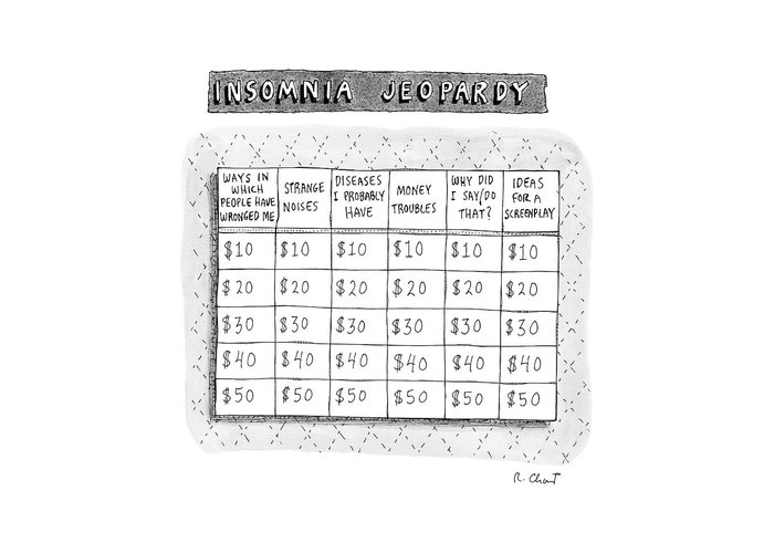 Insomnia Jeopardy Greeting Card featuring the drawing Insomnia Jeopardy by Roz Chast