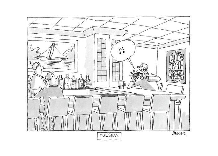 Alcohol Greeting Card featuring the drawing New Yorker September 18th, 2006 by Jack Ziegler