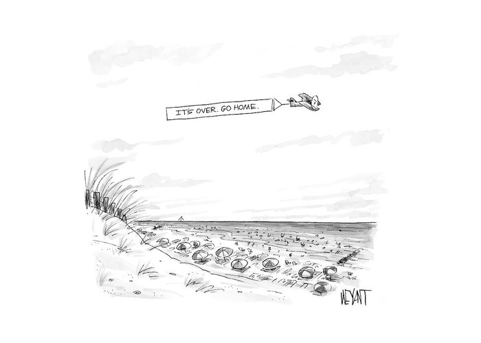 Seasons Summer Seashore  (plane Flying Over Crowded Beach With Message That Reads Greeting Card featuring the drawing New Yorker September 12th, 2005 by Christopher Weyant