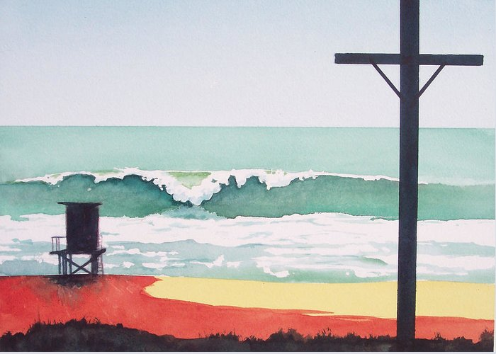 Surf Greeting Card featuring the painting 14th Street Huntington Beach by Philip Fleischer