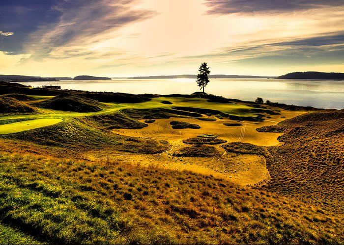 Chambers Bay Golf Course Greeting Card featuring the photograph #15 At Chambers Bay Golf Course by David Patterson