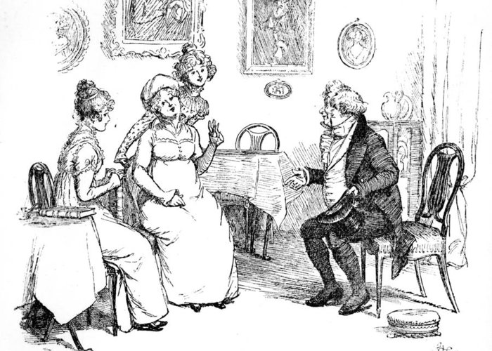Protested He Must Be Entirely Mistaken; Illustration; Pride And Prejudice Jane Austen; Sir William Lucas; Mrs; Bennet; Charlotte Greeting Card featuring the drawing Scene From Pride And Prejudice By Jane Austen by Hugh Thomson