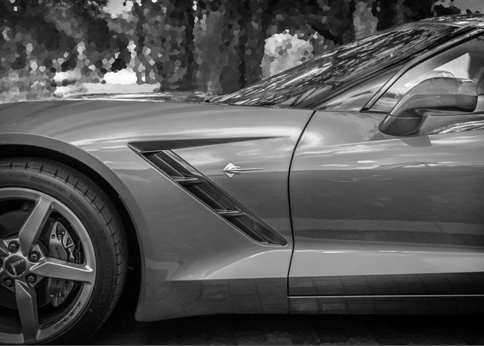2014 Chevrolet Corvette Greeting Card featuring the photograph 2014 Chevrolet Corvette C7 Bw  by Rich Franco