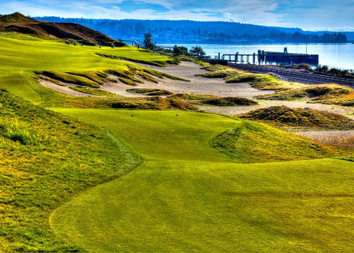 Chambers Bay Golf Course Greeting Card featuring the photograph #16 At Chambers Bay Golf Course - Location Of The 2015 U.s. Open Championship by David Patterson
