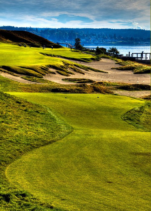 Chambers Bay Golf Course Greeting Card featuring the photograph #16 At Chambers Bay Golf Course - Location Of The 2015 U.s. Open Tournament by David Patterson