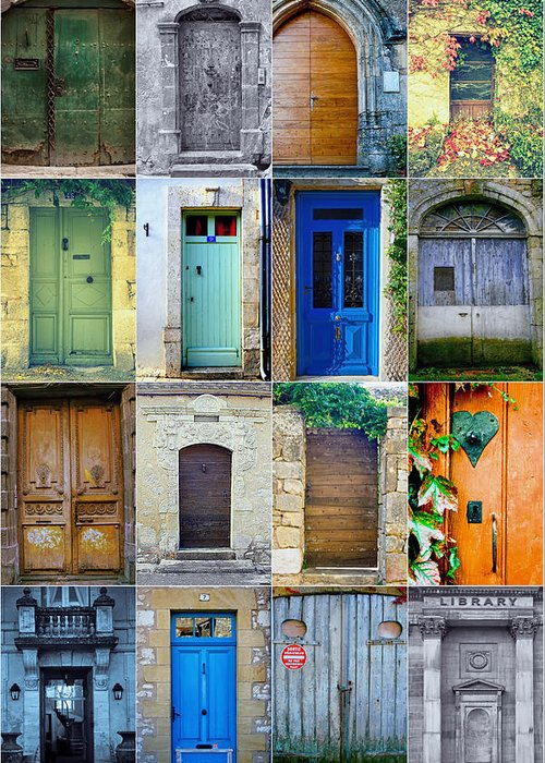 Door Greeting Card featuring the photograph 16 Doors In France Collage by Georgia Fowler