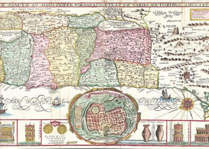 This Is An Extraordinary C. 1632 Map Of The Holy Land By The Jesuit Monk Jacobus Tirinus. Oriented To The East Greeting Card featuring the photograph 1632 Tirinus Map Of The Holy Land by Paul Fearn