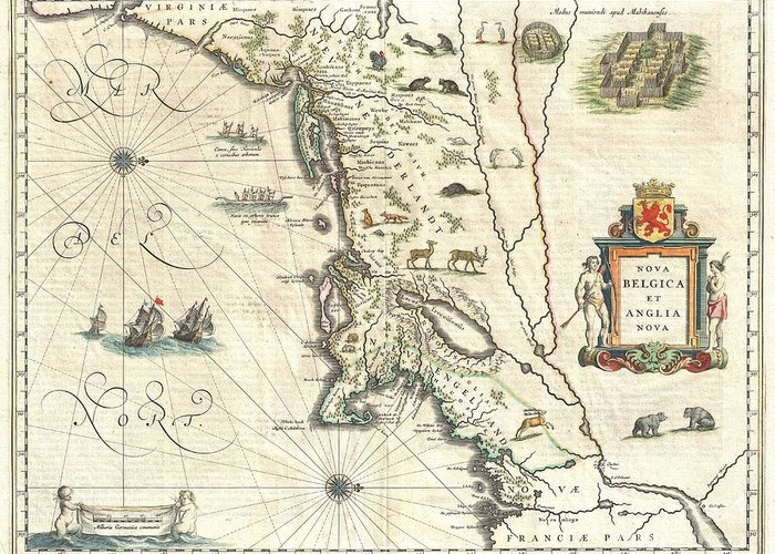A Beautiful Old Color Example Of One Of The Most Important Maps In The History Of America Greeting Card featuring the photograph 1635 Blaeu Map Of New England And New York by Paul Fearn
