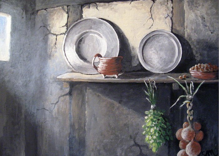 Still Life Greeting Card featuring the painting 1642 by Sharon Marcella Marston