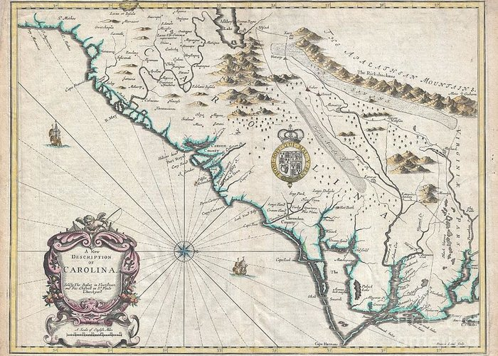 A Beautiful Example Of John Speed's Important 1676 Map Of The Carolina Colony. Heavily Based Upon The Explorations Of John Lederer And Ogilby's Lords Proprietor's Map Of 1674. This Seminal Map Represents One Of The Earliest Attempts To Map The Carolina Interior. Oriented To The West Greeting Card featuring the photograph 1676 John Speed Map Of Carolina by Paul Fearn