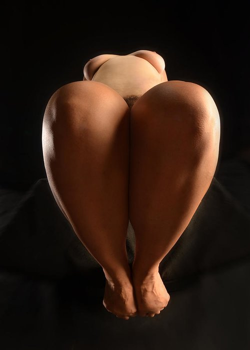 Nude Greeting Card featuring the photograph 1680 Full Figure Nude Knees by Chris Maher