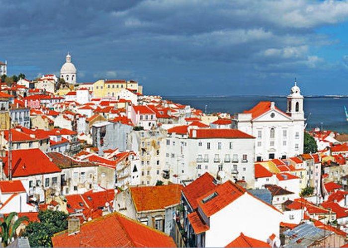 Lisbon Greeting Card featuring the photograph Lisbon Cityscape by Luis Alvarenga