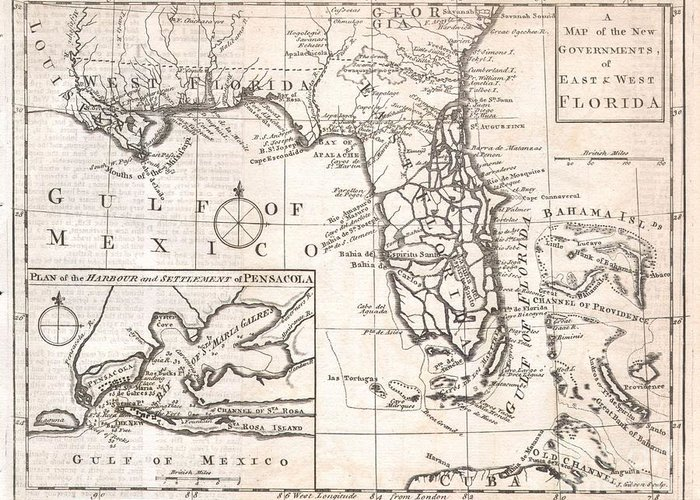 Featured Here Is A Rare And Important Map Of Florida Issued For Gentleman's Magazine In 1763 To Describe The New Territories Of British Florida. The Map Depicts The Provinces Of East And West Florida As They Emerged Following The Treaty Of Paris That Ended The French And Indian War. The Treaty Ceded To The British Control Of Most Of The North America Territory East Of The Mississippi River. The Treaty Included An Agreement With Spain To Exchange Cuba For Florida. The British Quickly Set Up Two New Provinces Divided By The Apalachicola River. West Florida Comprised The Territory Between The Apalachicola River And The Mississippi River. East Florida Included Most Of The Peninsula Of Florida. The Division Was Intended By The British To Reduce Conflicts Between Colonists And The Native Americans Of The Region By Outlawing English Settlement (except For The Coast) West Of The Apalachicola River. The Map Itself Attempts To Depict The Region In Considerable Detail And Includes Political Boundaries Greeting Card featuring the photograph 1763 Gibson Map Of East And West Florida by Paul Fearn