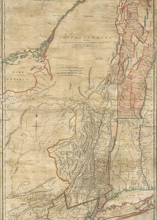 A First Issue First Edition Example Of A Seminal Map. This Is A Rare And Unusual Version Of The 1768 First Edition Of Holland And Jefferys Seminal Map Of New York And New Jersey. Depicts The Important Trade Corridor Between New York And Montreal Greeting Card featuring the photograph 1768 Holland Jeffreys Map Of New York And New Jersey by Paul Fearn