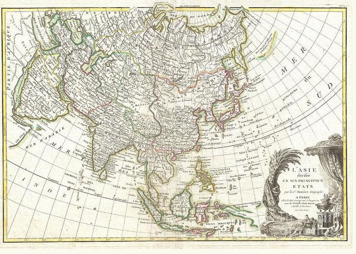 : A Beautiful Example Of Le Sieur Janvier's 1771 Map Of Asia. Covers From Africa And The Mediterranean East To Bering Strait (detroit Du Norte Ou D'anian) And South As Far As Java And New Guinea. This Map Is Most Interesting In Its Rendering Of The Largely Unexplored Extreme Northwest Of Asia. Yeco Or Hokkaido Is Mapped Only Speculatively With Its Western Borders Unknown. Shows Sakhalin Island In An Embryonic State. Just To The East Of Yeco (hokkaido) Greeting Card featuring the photograph 1770 Janvier Map Of Asia by Paul Fearn