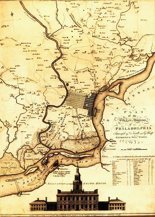 1777 Philadelphia Map Greeting Card featuring the drawing 1777 Philadelphia Map by Bill Cannon
