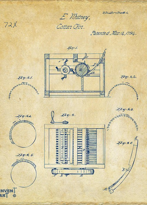 1794 eli whitney cotton gin patent vintage greeting card for sale by