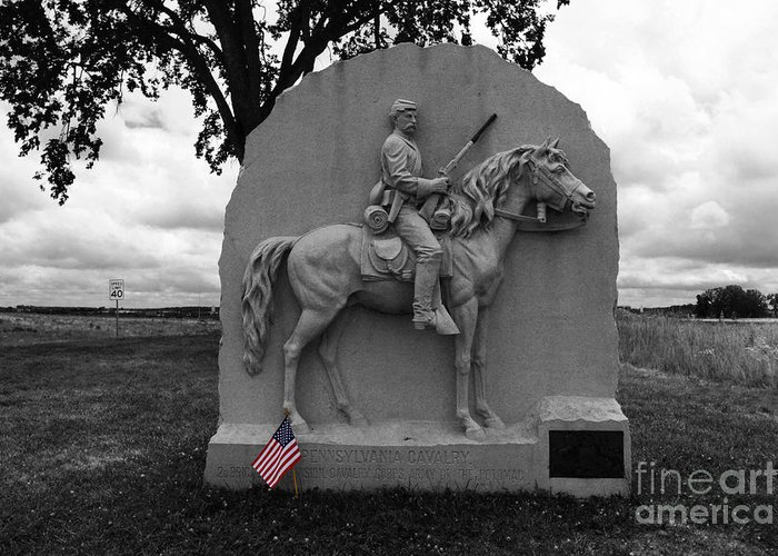 Gettysburg Greeting Card featuring the photograph 17th Pennsylvania Cavalry Monument Gettysburg by James Brunker
