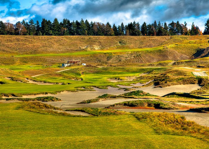 Chambers Bay Golf Course Greeting Card featuring the photograph #18 At Chambers Bay Golf Course - Location Of The 2015 U.s. Open Tournament by David Patterson