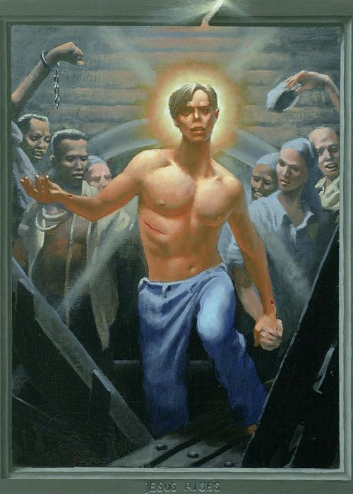 Jesus Greeting Card featuring the painting 18. Jesus Rises / From The Passion Of Christ - A Gay Vision by Douglas Blanchard