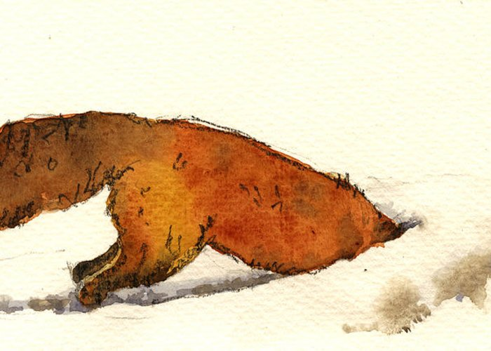 Red Greeting Card featuring the painting Red Fox by Juan Bosco