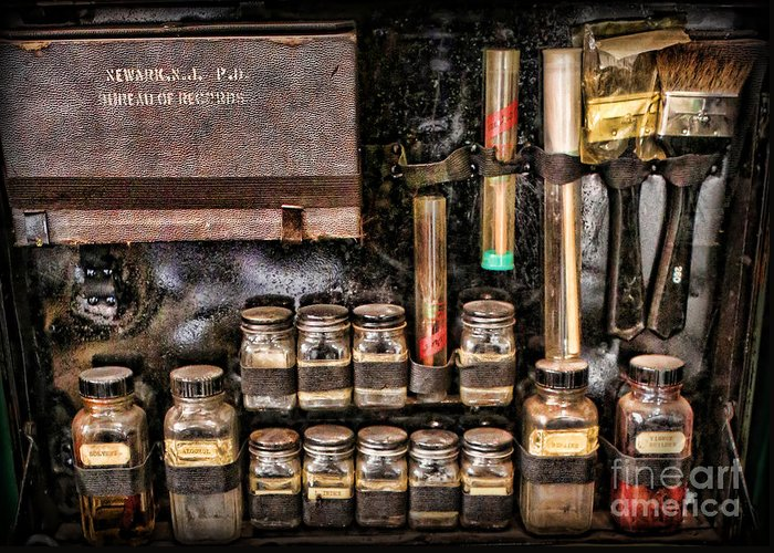 Csi Greeting Card featuring the photograph 1800's Fingerprint Kit II by Lee Dos Santos