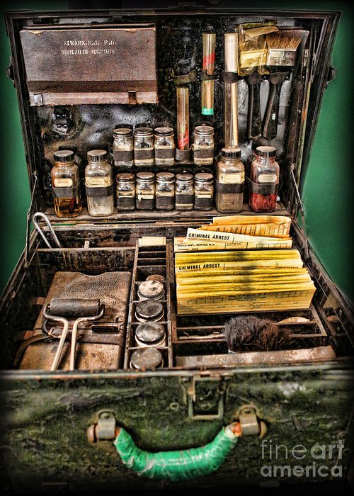 Csi Greeting Card featuring the photograph 1800's Fingerprint Kit by Lee Dos Santos