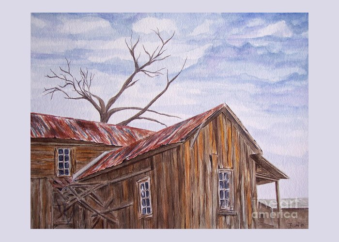 Old House Greeting Card featuring the painting 1800's by Regan J Smith