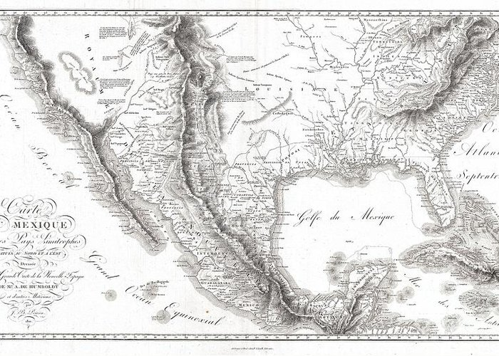 1811 Humboldt Map Of Mexico Greeting Card featuring the photograph 1811 Humboldt Map Of Mexico Texas Louisiana And Florida by Paul Fearn