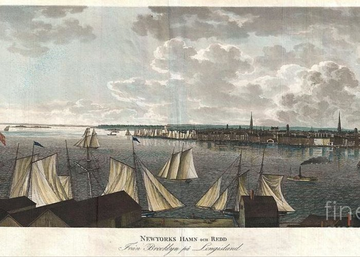 """A Fine And Highly Desirable 1824 Aquatint Of New York City And Harbor As Seen From Brooklyn. Based On A Drawing Composed By The Swedish Naval Officer Baron Axel Leonhard Klinkowström On His 1818 – 1820 Tour Of The United States. Klinkowström Was Sent To New York To Assess The Strategic Value Of The Newly Invented Steam Ship For The Use By The Swedish Navy. Accordingly This Stunning View Shows An Assortment Of Sail And Steam Ships Plying The New York Harbor. Stokes Notes That This """"view Is Interesting Particularly As Showing The Types Of Steam Ferries And Sail-boats In Use At This Period."""" No Description Of This Print Greeting Card featuring the photograph 1824 Klinkowstrom View Of New York City From Brooklyn by Paul Fearn"""